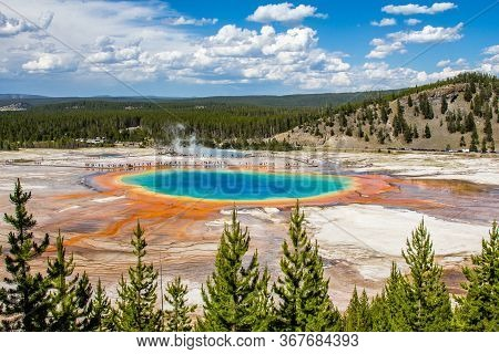 The Grand Prismatic Spring Photo Taken From Above. Located In The Midway Geyser Basin, Yellowstone N