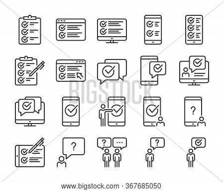 Survey Icons. Survey And Questionnaire Line Icon Set. Vector Illustration. Editable Stroke.