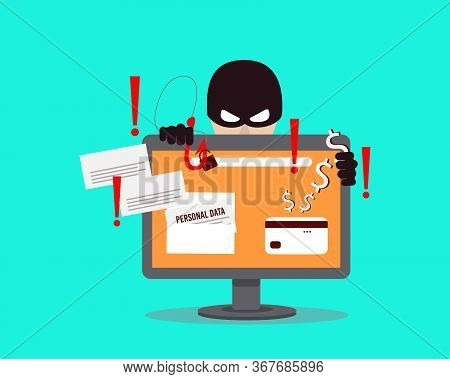 A Computer Hacker Who Steals Money And Personal Data On The Internet. Web Crime With Password Hackin
