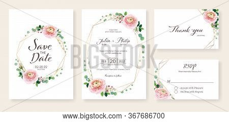 Floral Wedding Invitation, Save The Date, Thank You, Rsvp Card Design Template. Ranunculus Flower An