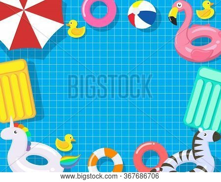 Pool Party Template With Pool Floats On Swimming Pool Background - Vector Illustration