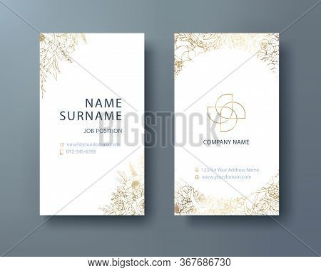 Floral Corporate Business, Personal Name Card Design Template. Vector Illustration. Front And Back P