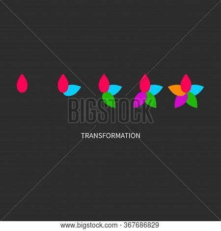 Metaphor Of Development, Growth, Transformation, Change. Coaching Icon. Logo Transform