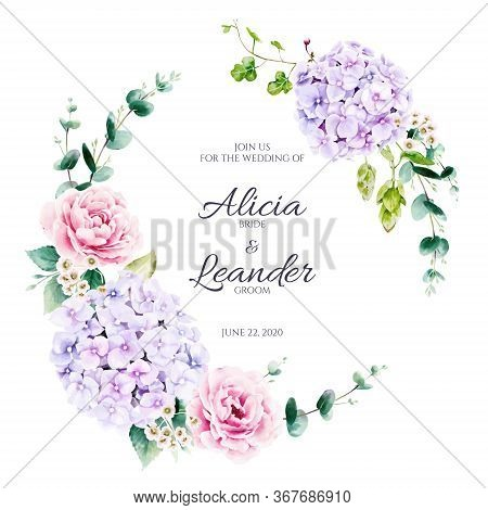 Beautiful Floral And Greenery Wreath For Wedding Invitation Card On White Background. Vector. Pink R