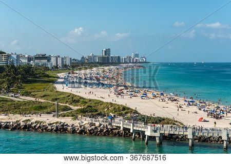 Miami, Fl, United States - April 28, 2019: View Of Miami Beach From A Cruise Ship In Miami, Florida,