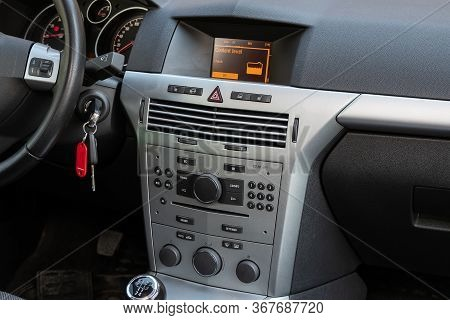 Novosibirsk/ Russia - May 03 2020:  Opel Astra, Close-up Of The Central Control Panel, Monitor With