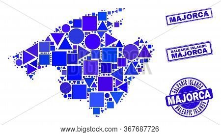 Vector Mosaic Majorca Map. Geographic Collage In Blue Color Tints, And Scratched Round And Rectangle