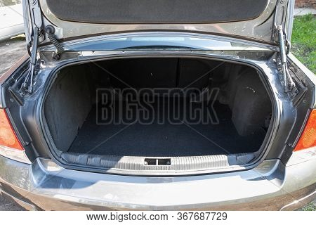 Novosibirsk/ Russia - May 03 2020:  Opel Astra, Close-up Of The Open Trunk, Headlight, Bumper,  Fron