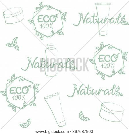 Eco, natural cosmetics background. Vector seamless pattern for natural beauty care, natural cosmetics market, eco friendly handmade product, printing on packaging. ECO, bio, organic, natural concept