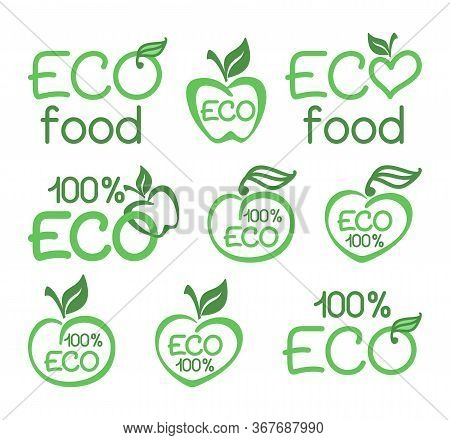 Set Of Eco Food Icons, Healthy Food Emblems, Logo. Vector Design Element For Meal And Drink, Cafe, R