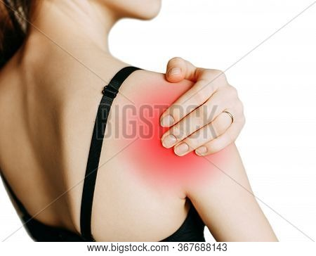 Shoulder And Joint Injuries, And Fatigue At Work. The Zone Of Injury, The Image On A Blank Backgroun