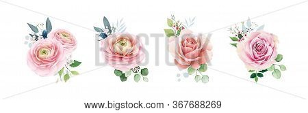 Floral Romanric Bouquets For Wedding Invite Or Greeting Card. Pink Peach Rose And Flower, Greenery L