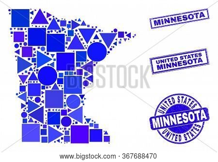 Vector Mosaic Minnesota State Map. Geographic Collage In Blue Color Hues, And Unclean Round And Rect