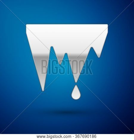 Silver Icicle Icon Isolated On Blue Background. Stalactite, Ice Spikes. Winter Weather, Snow Crystal