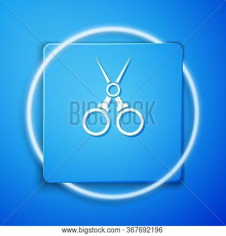 White Scissors Hairdresser Icon Isolated On Blue Background. Hairdresser, Fashion Salon And Barber S
