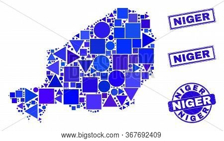 Vector Mosaic Niger Map. Geographic Collage In Blue Color Tinges, And Unclean Round And Rectangle St