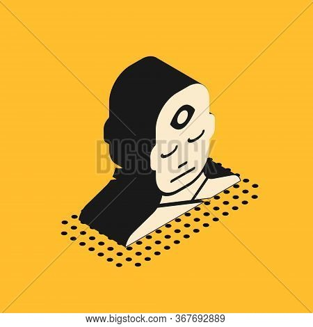 Isometric Man With Third Eye Icon Isolated On Yellow Background. The Concept Of Meditation, Vision O