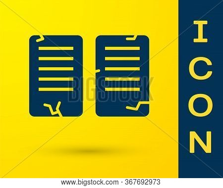 Blue The Commandments Icon Isolated On Yellow Background. Gods Law Concept. Vector