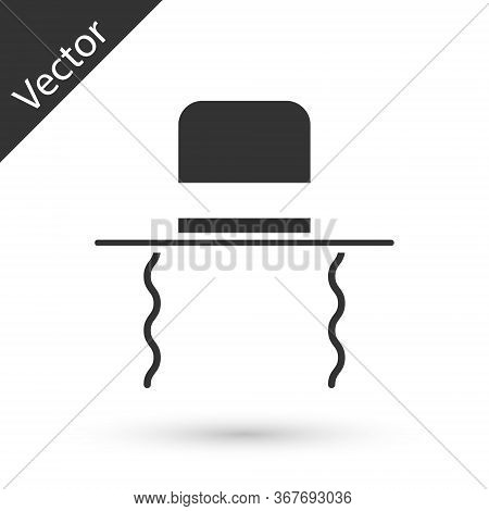 Grey Orthodox Jewish Hat With Sidelocks Icon Isolated On White Background. Jewish Men In The Traditi