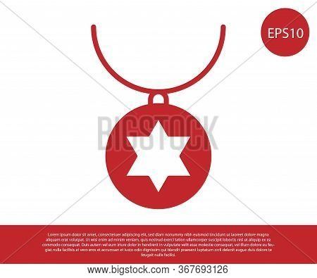 Red Star Of David Necklace On Chain Icon Isolated On White Background. Jewish Religion. Symbol Of Is