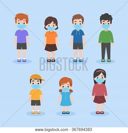 Set Of Children In New Normal Life Wearing A Surgical Protective Medical Mask For Preventcoronavirus