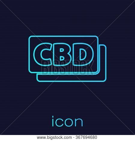 Turquoise Line Cannabis Molecule Icon Isolated On Blue Background. Cannabidiol Molecular Structures,