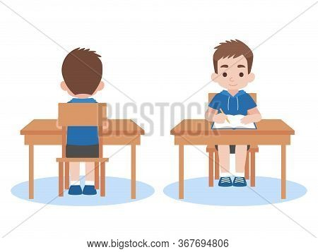 Boy Back And Front Studying Lessons Distance Education At Home Self Learning For Prevent Coronavirus