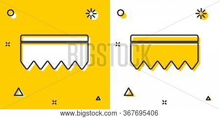 Black Sponge With Bubbles Icon Isolated On Yellow And White Background. Wisp Of Bast For Washing Dis
