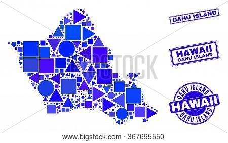 Vector Mosaic Oahu Island Map. Geographic Scheme In Blue Color Tones, And Unclean Round And Rectangl