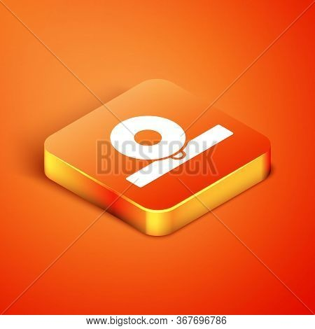 Isometric Otolaryngological Head Reflector Icon Isolated On Orange Background. Equipment For Inspect