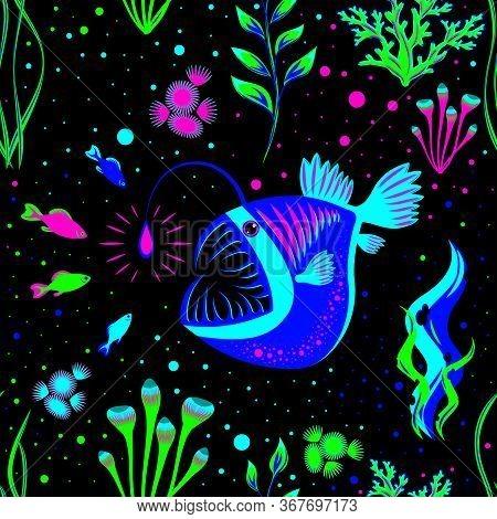 Angler Fish And Small Fish. Lophius Piscatorius. Underwater World. Seamless Pattern. Bioluminescence