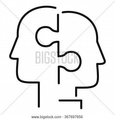 Puzzle Collaboration Icon. Outline Puzzle Collaboration Vector Icon For Web Design Isolated On White