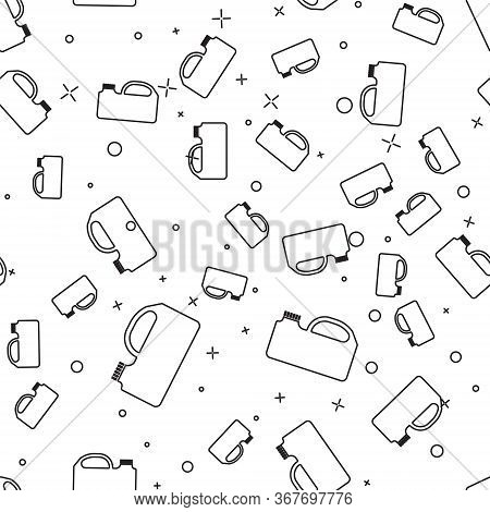 Black Line Plastic Canister For Motor Machine Oil Icon Isolated Seamless Pattern On White Background
