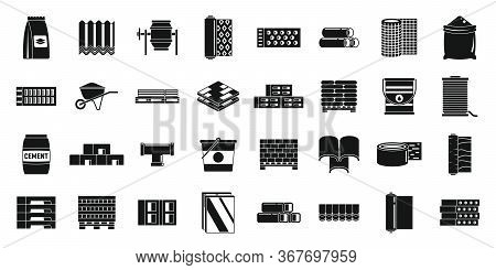 Building Construction Materials Icons Set. Simple Set Of Building Construction Materials Vector Icon