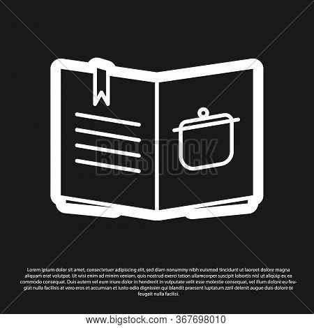 Black Cookbook Icon Isolated On Black Background. Cooking Book Icon. Recipe Book. Fork And Knife Ico