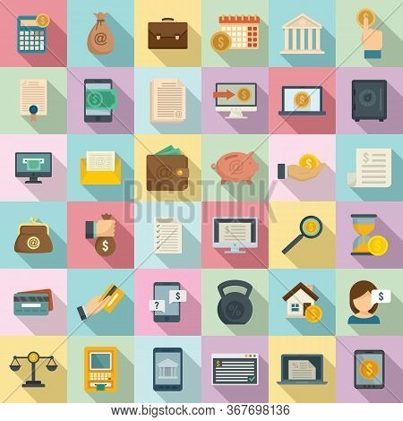 Online Loan Icons Set. Flat Set Of Online Loan Vector Icons For Web Design