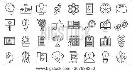 Creativity Innovation Icons Set. Outline Set Of Creativity Innovation Vector Icons For Web Design Is