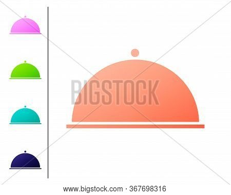 Coral Covered With A Tray Of Food Icon Isolated On White Background. Tray And Lid. Restaurant Cloche