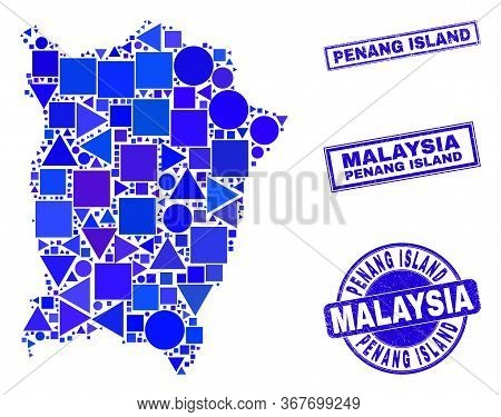 Vector Mosaic Penang Island Map. Geographic Collage In Blue Color Hues, And Corroded Round And Recta