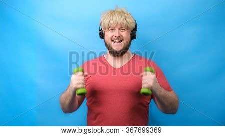 Funny Man Freaks In Headphones And With A Haircut From 70 Sin Pink T-shirt Deals With Small Green Du
