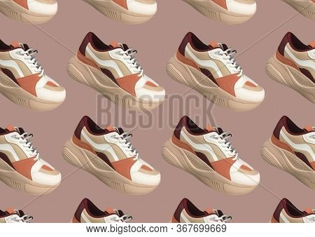 White Platform Sneakers With Bright Color Accents Pattern On Pink Background. Close View Of Fashion