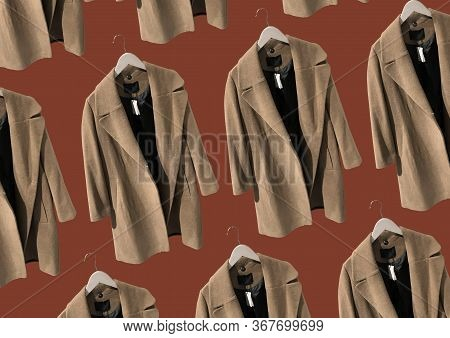 Brown Women Coat On Hangers Isolated On Red Background. Composition Of Clothes. Flat Lay, Top View,