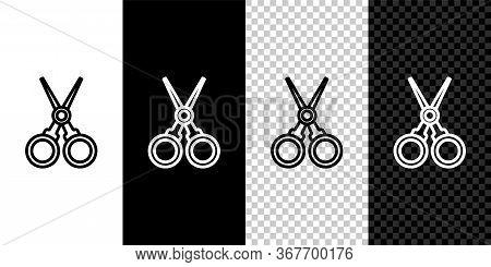 Set Line Scissors Hairdresser Icon Isolated On Black And White Background. Hairdresser, Fashion Salo
