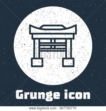 Grunge Line Japan Gate Icon Isolated On Grey Background. Torii Gate Sign. Japanese Traditional Class