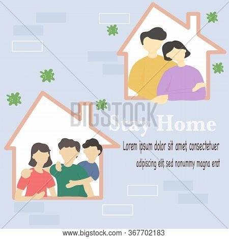 Stay At Home And Coronavirus Covid-19 Concept - Happy Families Stay In The House To Prevent Spreadin