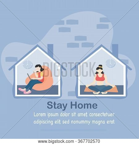 Stay At Home And Coronavirus Covid-19 Concept - Young Women Working In The House In Morning And Even