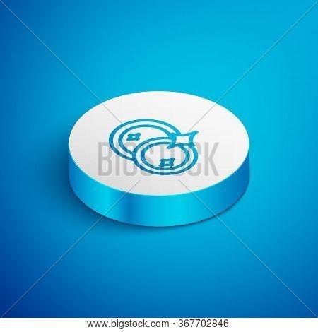 Isometric Line Washing Dishes Icon Isolated On Blue Background. Cleaning Dishes Icon. Dishwasher Sig
