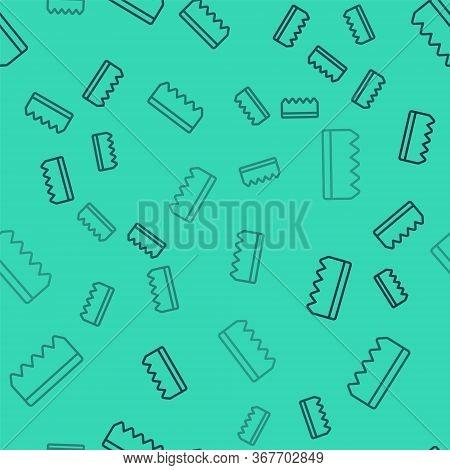 Black Line Sponge With Bubbles Icon Isolated Seamless Pattern On Green Background. Wisp Of Bast For