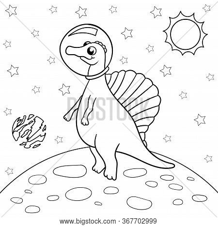 Vector Illustration Of Dinosaur Astronaut In Space, Spinosaurus - Coloring Book For Children