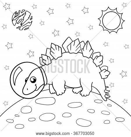 Vector Illustration Of Dinosaur Astronaut In Space, Stegosaurus - Coloring Book For Children